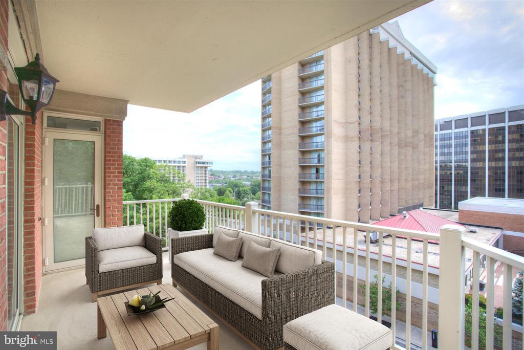 Gem in the heart of Rosslyn! This 2 bed/2.5 bath unit provides an entertainer's layout with spacious living area and dining room. Gourmet, updated  eat-in kitchen with stainless steel appliances, island with breakfast bar. Upgraded lighting and HVAC. Tons of natural light, large bedrooms, and plenty of storage. Two balconies with views of Georgetown and Rosslyn skyline. The Dakota is a boutique condo building with a small community feel just steps to the Rosslyn metro, all of the shops/restaurants, and a quick commute to DC.