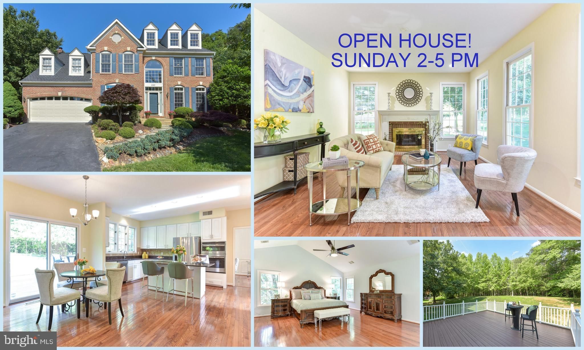 OPEN SUN 2-5! Beautiful 5 BR, 3.5 BA brick-front colonial with 2 car garage. Large 0.38 acre lot on a quiet cul-de-sac backing to trees. Spacious floor plan with gleaming hardwood flooring, large windows and new recessed lighting. Gourmet kitchen with granite countertops, center island, tile backsplash and new stainless steel appliances. Large private deck with tree views. Master suite with cathedral ceiling, 2 walk-in closets and hardwood flooring. Luxurious, newly renovated master bath with granite top vanities, soaking tub and separate shower. Walk-up basement with rec room, storage room, bonus room, optional 5th BR and renovated full bath. Enjoy community amenities - pool, tennis courts, tails and community center. Easy access to Fairfax County Pkwy, VRE, Rt. 123 and I-95.