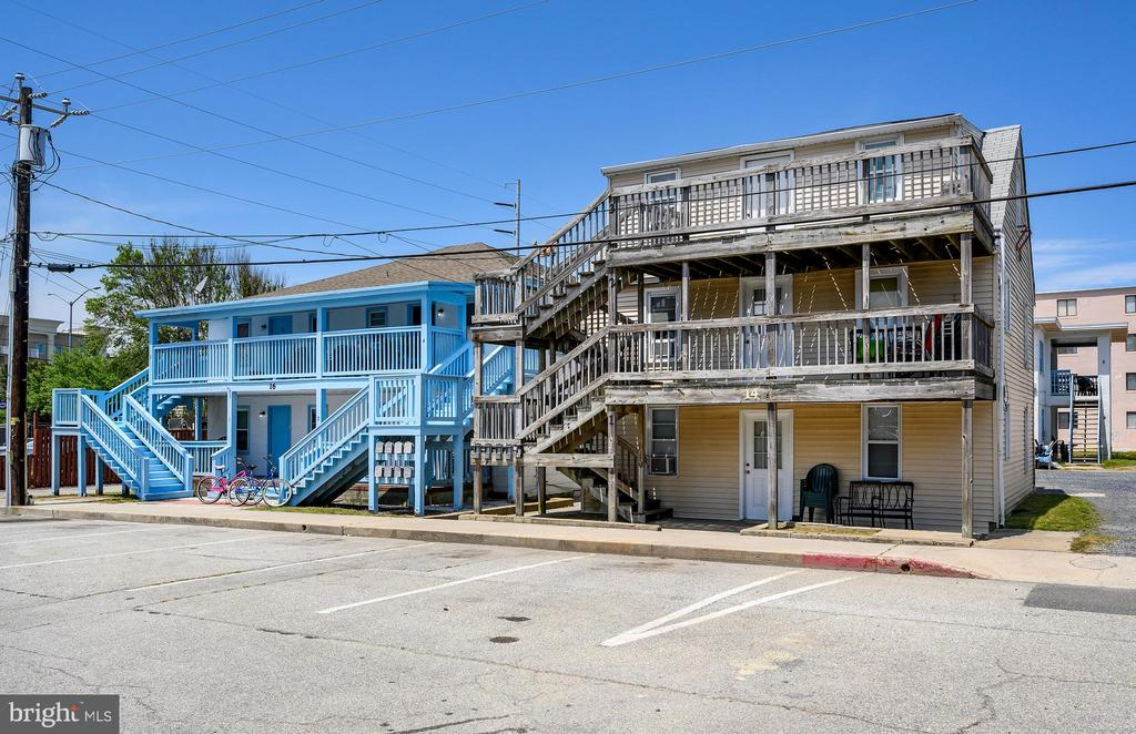 Great rental and re development potential on the ocean block. 2 large lots with a total of 4 buildings.  Multiple tax IDs in this sale.   Currently apartments with various arrangements of beds and baths.  Great mid town location close to convention center and performing arts.  Already income producing property, but with future redevelopment potential. See documents for a breakdown of apartments.