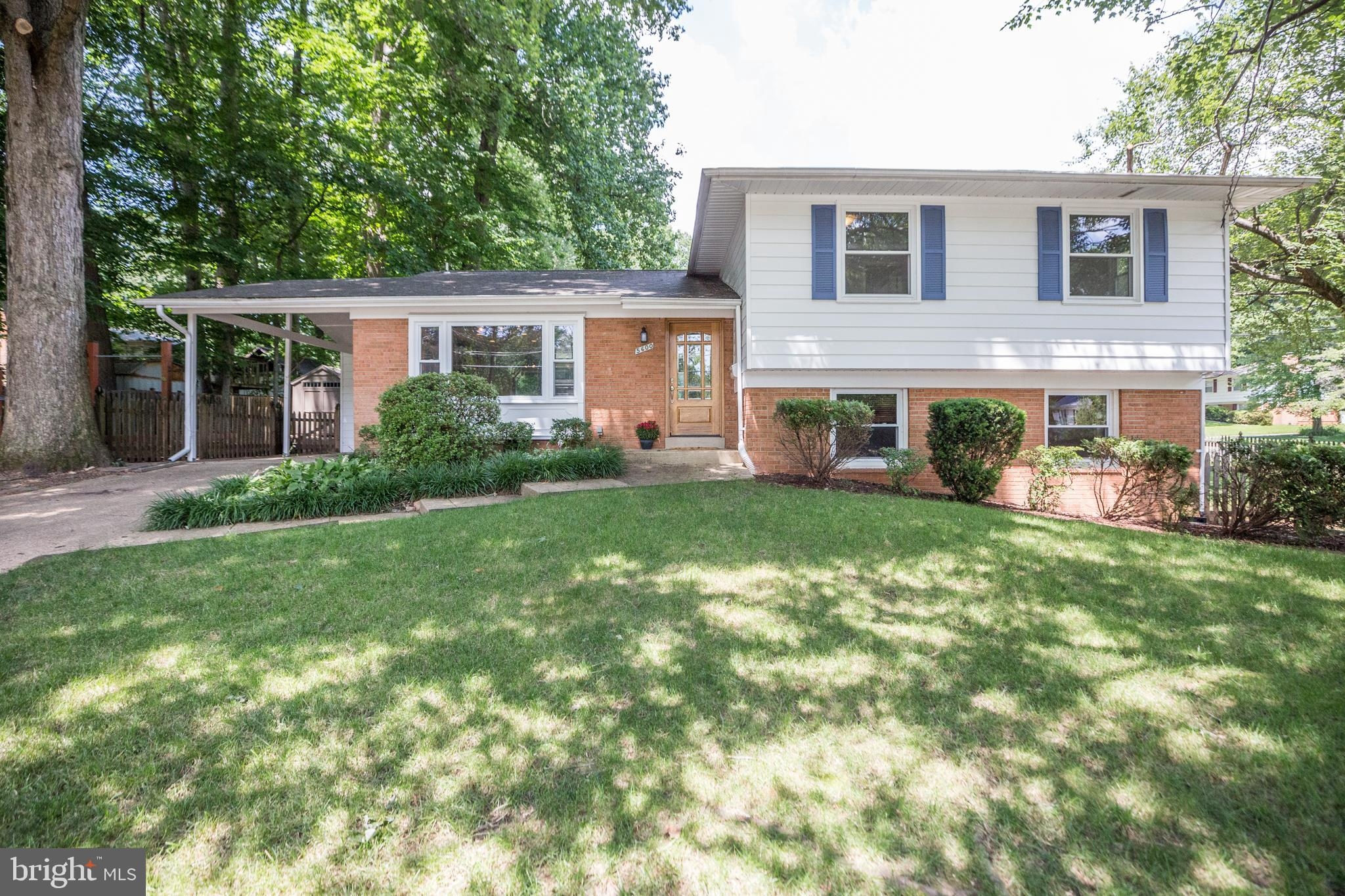This beautiful single family home with a sought-after ~split level~ floor plan is situated in a great location that allows for quick access to I-395, I-495 HOT lanes and Express bus to the Pentagon. The renovated kitchen on the main level boasts granite countertops, high-end appliances and a breakfast bar for extra cooking prep space and seating/serving space for gatherings. The open kitchen flows into the adjacent sun-bathed living room, eat-in-kitchen and dining area, providing a flexible setting for dinner parties and gatherings. Through sliding doors, the dining area opens up to a large paver patio and backyard, perfect for al fresco dining. A spacious walkout lower level family room with custom built-in shelves, cabinets, crown molding and recessed lighting awaits you. Enjoy the great views of the front and side luscious green lawn as you relax in this room. The fifth bedroom (which can serve as a home office or in-law suite) and full bath are conveniently located on the same level. A short staircase leads you to the upper level where you will find three secondary bedrooms, master bedroom, one full bath and master bath.  Finally, you will be impressed by the outdoor fitness station on the side yard of the almost 1/3 acre corner lot. Don't miss the opportunity to own this fully renovated home with high end finishes, fresh paint, refinished hardwood floors, custom closets, large paver patio, two sheds, carport, energy efficient upgrades to insulation, and newly insulated/conditioned crawl space. Not to mention, quick access to miles of trails, Lake Accotink Park, and two large recreation centers! Zoned to Lake Braddock Secondary School.  Other home highlights: - Newer sewer line from house to street in 2006. - Newer sewer line under lower level bedroom in 2014. - Upper level bathrooms, kitchen and basement were all gutted to studs, insulated and reconstructed. - Attached shed roof was replaced with a flat roof membrane approximately 3-4 years ago. - Verizon Fios equipment ready for use in the lower level. - Close to grocery stores and other conveniences. - Wakefield Farmers Market approximately 1.7 miles from home.