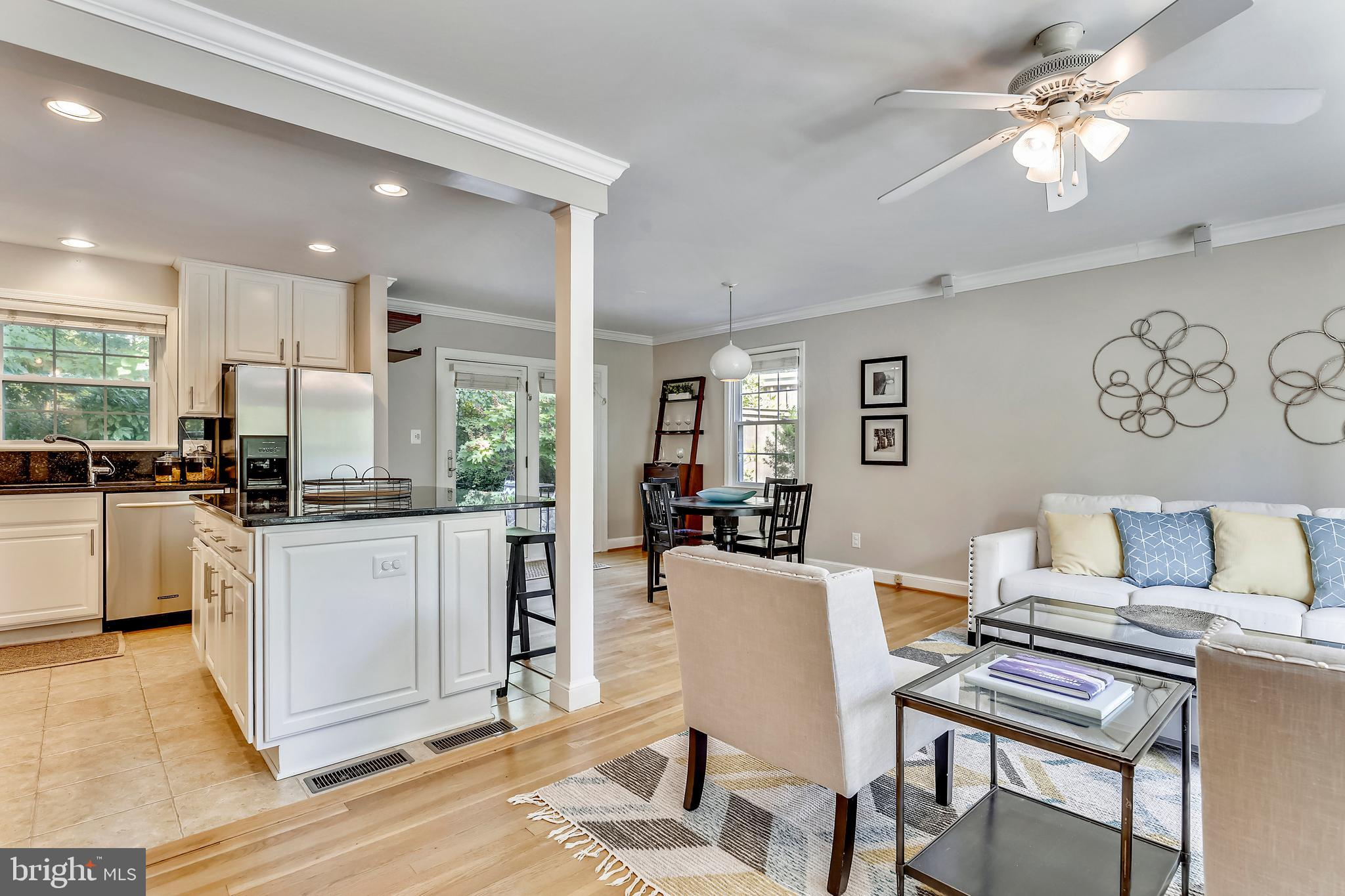 FANTASTIC NEW PRICE! Open 8/10 & 8/11 2-4pm. Price adjustment for this delightful 4BR/2BA Braddock Heights home that is overdue in welcoming its new owners. You MUST SEE the greenery that surrounds this home. It's located on convenient Braddock Road, and once inside the bustle of Alexandria living melts away and relaxed living takes over. An open floorplan greets you as you enter from a spacious, elegant terrace at the back of the home, which you reach from a shared private driveway with space for up to four cars. This access also means you could easily manage one level living as 2 bedrooms, 1 full bath with walk-in shower, and kitchen/living room/and dining room are all on the same level. Downstairs are 2 more bedrooms, another full bath, a den with a fireplace and large, convenient utility room. Throughout the home are savvy tech touches and finishes including a spectacular kitchen with Viking stove and Dacor microwave, upgraded baths (with heated floors and a Bluetooth-enable speaker in the light) and so much space you'll think you've landed in Square Footage Heaven. (There's also a HUGE floored attic that runs the length of the house and offers tremendous storage or expansion options.) But it's really the lush outdoor space that will delight. It's unparalleled for a home at this price in this neighborhood! Plop yourself in the hammock, take a rest & refreshment on the terrace, walk the pathways dotted with pretty plantings around the home... the views delight at every turn. If you must leave your little Alexandria Oasis, you'll find the Metro area's best outside your doorstep... Del Ray, Shirlington, Old Town, Crystal City (home to Amazon's HQ2) and DC are each just minutes away. Walk to George Mason Elementary, Chinquapin Park or any number of neighborhood treats. Stop your search, you've found Your Home.