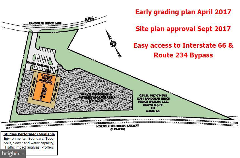 Acreage: 6.56 AC / Net Usable 4.57 AC ~ Zoning: M-1 (Heavy Industrial)~ GPIN: 7497-73-1762 ~ Early grading plan: April 2017 ~ Site plan approval: Sept. 2017 ~ Approval for 20,000 SF building + 2 ac. outdoor storage ~ Utilities to site, water and sewer available ~ Upon closing, commence construction ~ Ideal location with excellent visibility from Prince William Pkwy/Rt. 234 Bypass ~ Strong traffic counts: 112,000 VPD on I-66 ~ 57,000 VPD at Balls Ford Rd/Rt. 234 Intersection