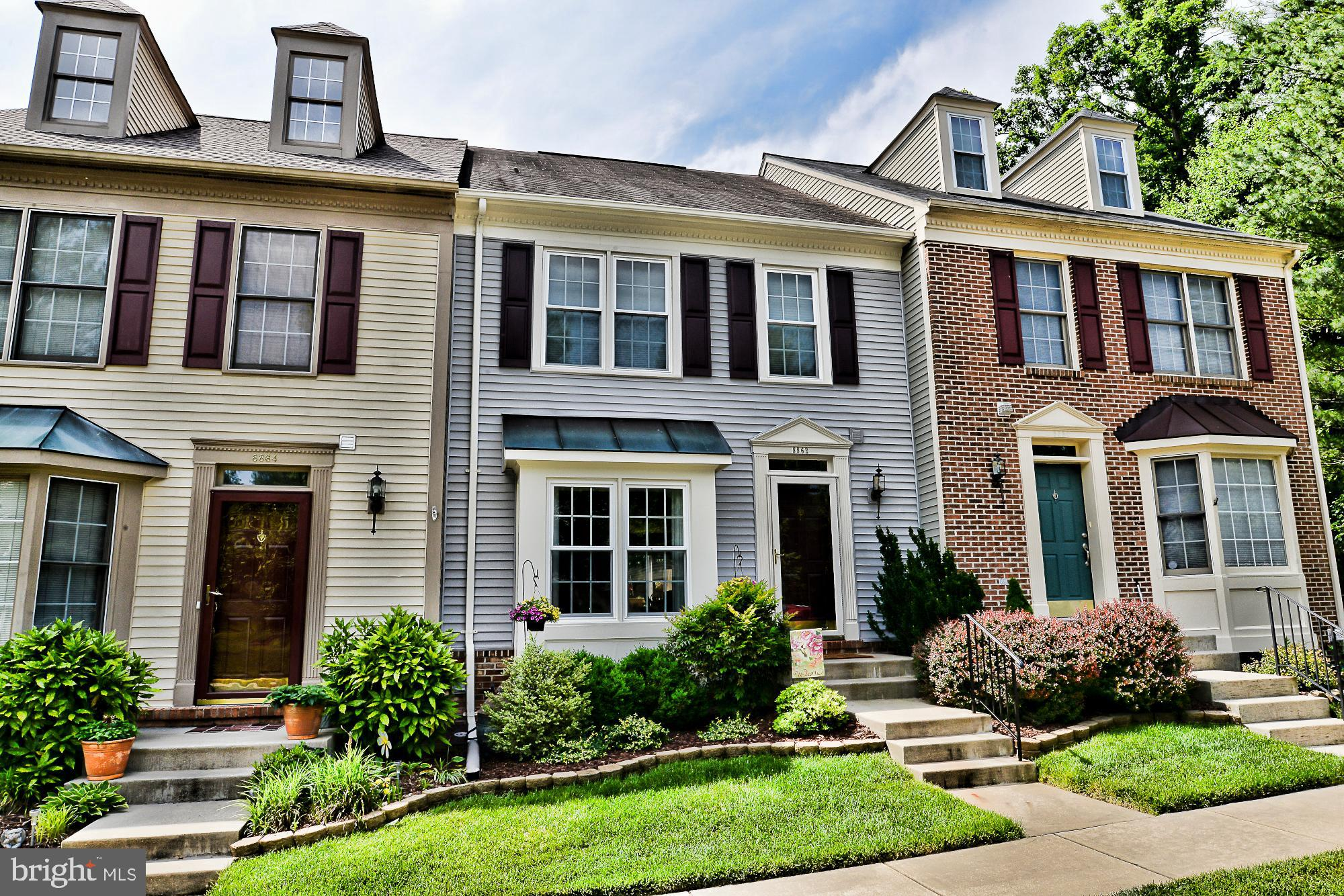 **This is the one that you have been waiting all summer for-Stunning Townhome with tons of upgrades, meticulous condition & backs to woods/trees in private location!Incredible, sun-splashed Kitchen feature: stainless appliances with gas cooking, center island, pendulum & recesssed lighting, Silestone counters, gorgeous new flooring & walk-out to relaxing sundeck with gorgeous scenic view!Gleaming hardwood floors, elegant decor, built-ins & molding adorn main level with great flow for entertaining or quality time.Generous Master Suite, bright & airy w/vaulted ceilings, huge walk-in closet & completely remodeled master bath too!Spa-like bath features: oversized shower with seamless glass doors, dual sink recessed panel vanity, granite counter, contemporary lighting, designer mirrors & plumbing fixtures, comfortable soaking tub & custom tile-inlay throughout, vaulted ceilings & palladium window too! Additional bedrooms & hallway also offer high, vaulted ceilings, ample closet space & an upgraded hall bath w/shower/tub combo. Expansive daylight lower level has rec room/great room with cozy gas FP, home office area with hardwood flooring, full bath, gigantic, organized storage/laundry room & walk-out to backyard which opens to common ground & then woods/trees & little stream. Close to everything that this area of Northern Virginia has to offer but tucked away in a secluded townhome neighborhood that doesn't feel congested!