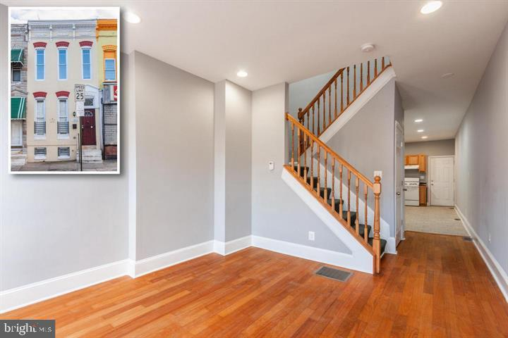 Totally renovated three bedroom townhouse rental in the John Hopkins hospital area of Baltimore City.  One full bath and one half bath.  Section 8 and MBQ vouchers are welcome.