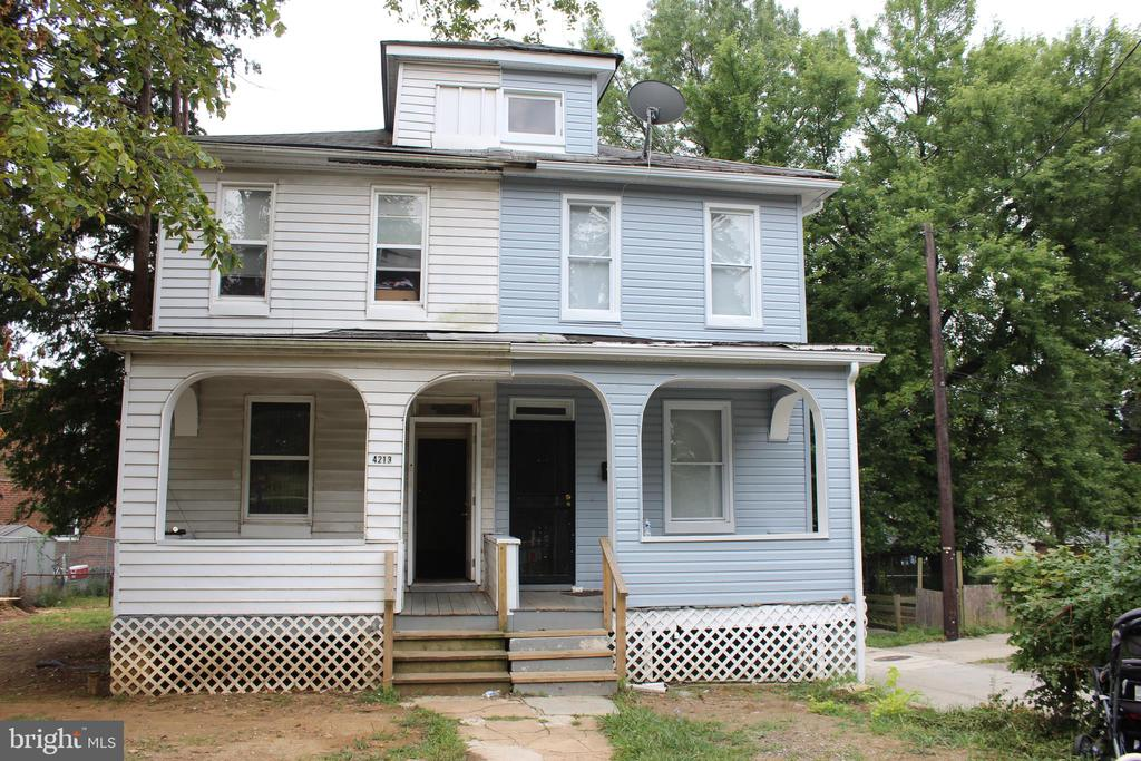 INVESTOR OPPORTUNITY:  3 unit Duplex Package (sold with 4213 Old Frederick Rd).  The blue side boasts hardwood floors, new vinyl siding, renovated kitchen including new appliances, cabinets and granite counters, new HVAC.  3 BR on upper level with full bath and half bath on main level. Fenced back yard. Hardwood floors. $149,800 All units are current with Baltimore rental inspections and lead paint.