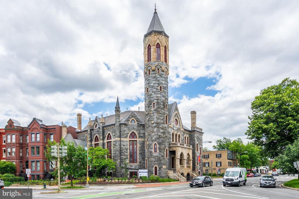 Stanton Tower's newest listing! Own a piece of history in this 125-year-old Romanesque Revival-style church conversion. 3 story townhouse condo w/ private entrance in the prestigious Stanton Tower.   2019 DC Preservation Award Winner with exceptional details. Featuring stained glass windows, 16 foot ceilings, luxury finishes, and private elevator. The master bedroom is stunning, featuring the original church arches. Owner-only access to newly rebuilt 130 foot high bell tower affording never before seen views of the city. A truly unique offering! 1 year of secure garage rental parking included. Estimated square footage per building plans.