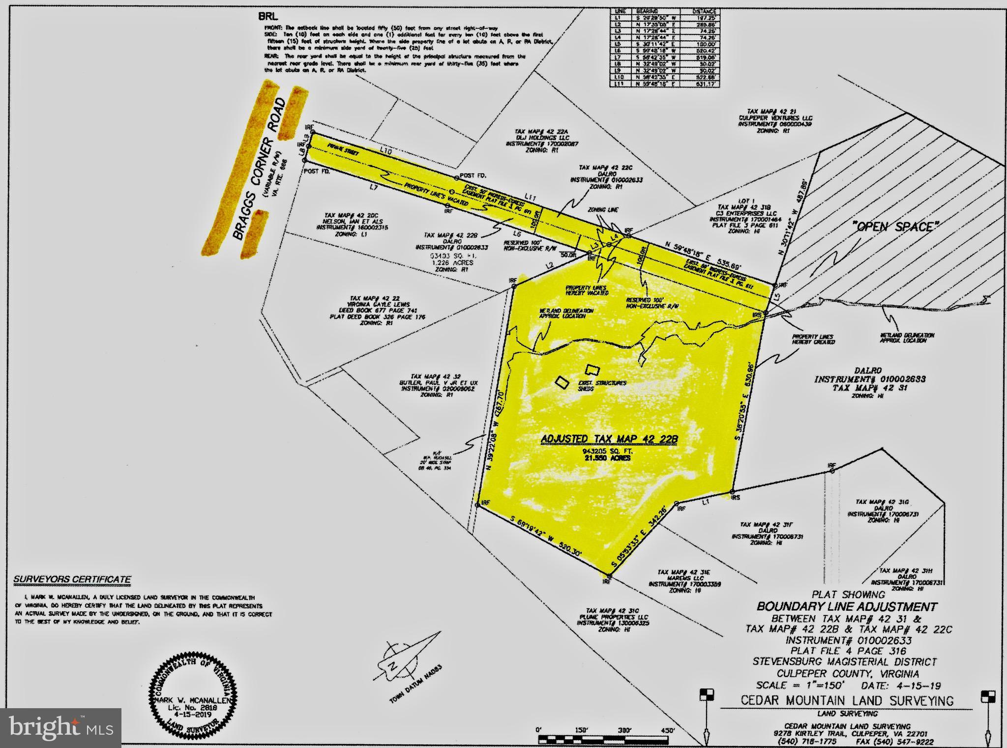 BRAGGS CORNER ROAD, CULPEPER, VA 22701