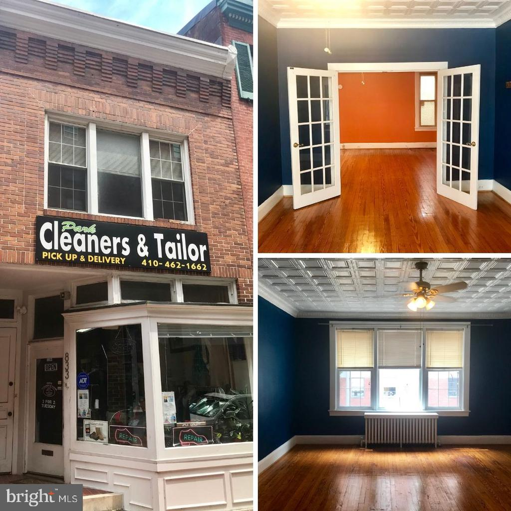 """Fantastic opportunity for the owner-occupant or savvy investor. Terrific location on Howard Streets """"Antique Row"""". First Floor currently rented at $1250 monthly. Second Floor Apartment with flexible floor plan leases for $1250.00"""