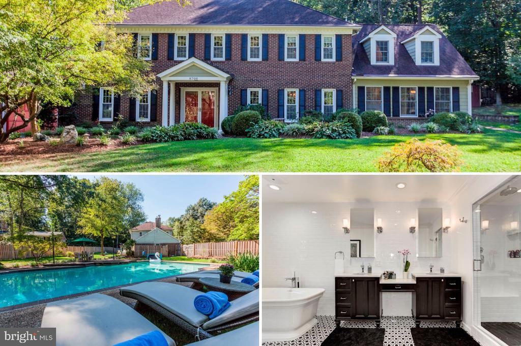 Open Sunday 2-4pm *Beautiful + private, gated .63 acres boasting an expanded and renovated center hall all brick colonial with lush landscaped grounds, sparkling pool, stone patios & just minutes to Mount Vernon, GW Parkway, Bike trails and the Potomac River. This 5-bedroom 4.5 bath renovated home has large picture windows across the back of the house highlighting the views of the stunning expansive grounds. A modern kitchen centers the house with an eat-in breakfast area, center island and wine/beverage area. Plenty of room to enjoy family and friends with a formal living room, separate dining room, family room with sliding glass door to the backyard and a cozy den with a stately fireplace and exposed brick wall. The new owner's suite is recently renovated with a large walk-in closet outfitted with custom cabinetry and a modern luxury bathroom with soaking tub, double sinks and wet room with dual showers. Upstairs also houses three additional bedrooms, one with an attached full bath and a secondary hall bath. Located through the family room is an au pair/mother-in law quarters with a separate living space (currently being used as a game room) main level 2nd master suite and the 5th bedroom located on the second level with attached full bath. It's easy to relax and enjoy the outdoors in the private landscaped yard with multiple patios, a sweeping lawn and a luxurious sparkling pool. Located on a private cul-de-sac through a gated entry; this is truly a special one-of-a-kind property not to miss seeing! A 10+
