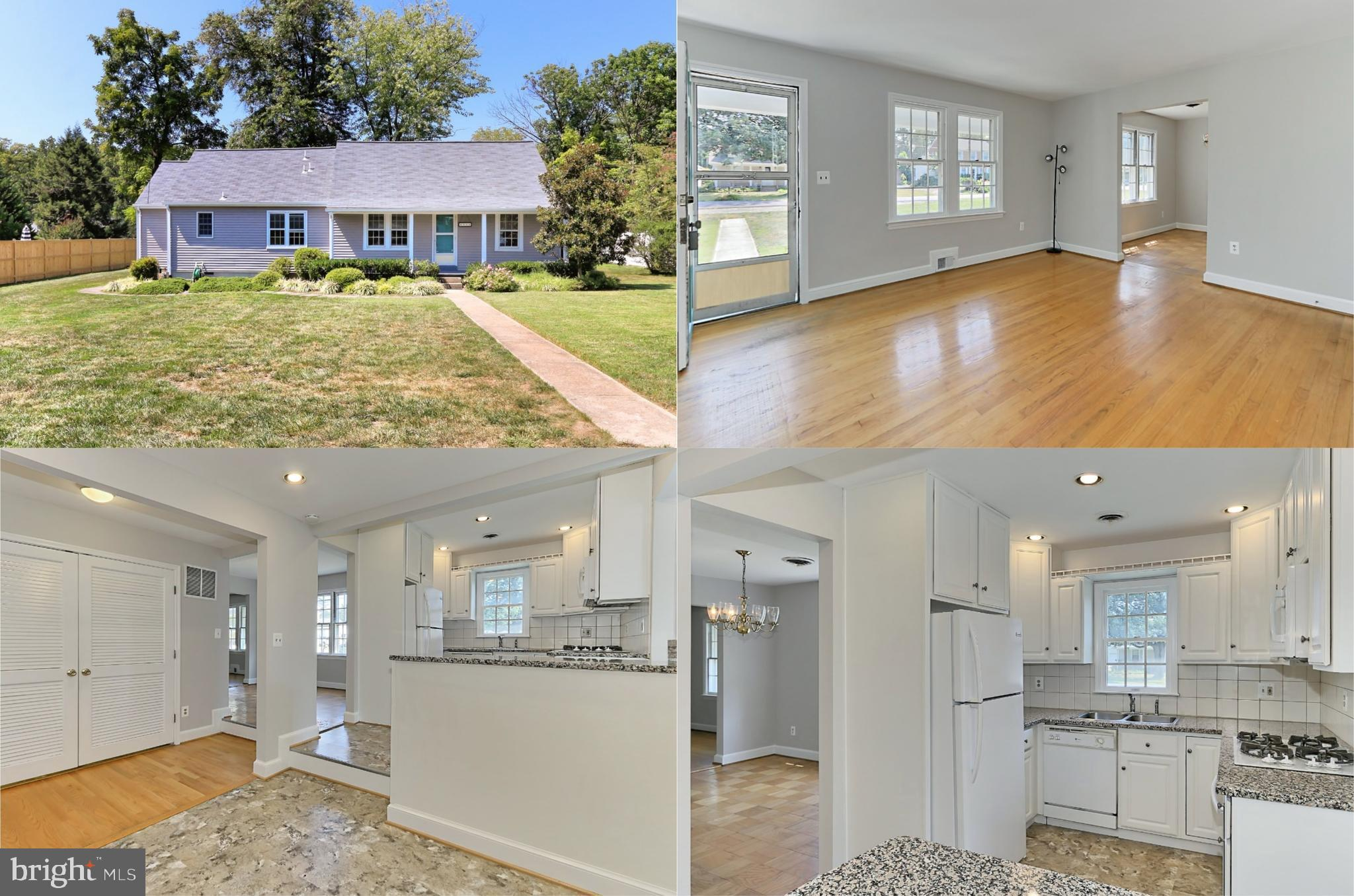 OFFER DEADLINE - TUESDAY, 9/10 AT NOON. Nestled in the well-established Fairland community, this charming 4 bedroom, 2 bath rambler home delivers plenty of space for living and a .28 acre wooded lot on a quiet street. A tailored siding exterior, front porch entrance, expert landscaping, patio deck, and gardener's shed are just some of the features that make this home so special. A sparkling kitchen updated to perfection creates instant appeal, while loving maintenance such as a newer HVAC, hot water heater, roof, appliances and fresh on-trend neutral paint make it move-in ready and just waiting for you to claim it as your own. Warm hardwood flooring welcomes you home and ushers you into the living room where twin windows flood the space with natural light and create an inviting atmosphere for entertaining or simple relaxation. The adjoining dining room offers space for all occasions and is accented by a shimmering candelabra-style chandelier adding a distinctly tailored feel. The sparkling gourmet kitchen serves up a feast for the eyes with gleaming granite countertops, an abundance of pristine 42 inch cabinetry, decorative backsplashes, and quality appliances including a gas cooktop and built-in microwave. Earth-toned flooring brings warmth to the space and flows into the breakfast area which provides ample space for daily dining. Further, the family room is highlighted by a cathedral ceiling and a glass-paned door opening to the patio deck and gardener's shed~seamlessly blending indoor and outdoor living.Hardwoods continue into the owner's suite boasting room for a sitting area, a walk-in closet tailored with custom shelving, and a private bath with a glass-enclosed tub/shower combo accented with spa-toned tile. Down the hall, two additional bright and cheerful bedrooms, each with hardwoods and generous closet space, enjoy access to the beautifully appointed hall bath with wainscoting. Fine craftsmanship continues upstairs and into the private 4th bedroom with dor