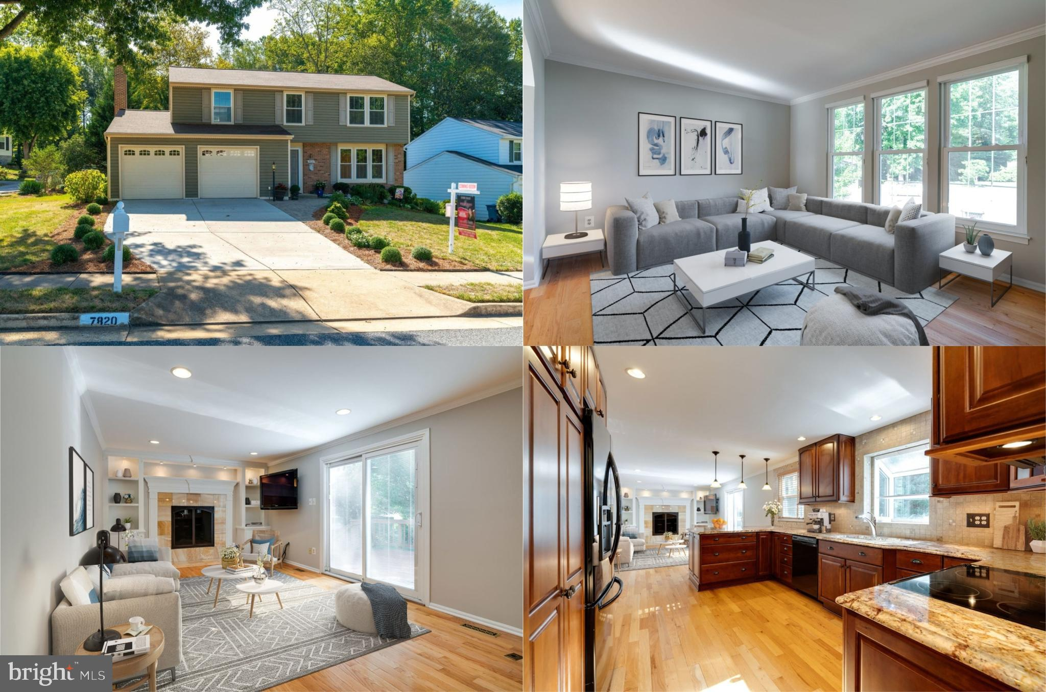 OFFER DEADLINE - MONDAY, 9/9 AT NOON. This beautifully renovated 4 bedroom, 3.5 bath colonial shines like a fine diamond and is loaded with upgrades. A tailored exterior, 2 car garage, expert landscaping, large deck, rich hardwood flooring, fresh on-trend neutral paint and decorative moldings, gas fireplace and custom built-ins are just some of the fine features that make this home so special. An open floor plan and an abundance of windows create a light and bright atmosphere, while completely renovated gourmet kitchen and baths and a fully finished lower level are just awaiting your arrival. Harwood floors in the foyer welcome you home and continue in the living room where natural light from triple windows illuminates decorative moldings and neutral designer paint. The formal dining room provides plenty of space for both formal and casual occasions, as a contemporary chandelier adds tailored distinction. The renovated gourmet kitchen will please the enthusiastic chef with gleaming granite countertops, an abundance of custom 42 inch cabinetry with pull out drawers, some with electrical outlets for small appliances, quality appliances including a built-in microwave, glass top range and French door refrigerator, while a peninsula with triple pendant lighting adds an additional working surface and bar seating. The adjoining family room features a remote gas fireplace flanked by built-in bookcases custom lighting. Here, a sliding glass door opens to the large deck overlooking a lush yard with storage shed backing to large evergreen trees~seamlessly blending indoor and outdoor living and entertaining. Back inside, a powder room with pedestal sink and wainscoting complements the main level. Upstairs, the gracious owner's suite boasts plush carpeting, a lighted ceiling fan, and walk-in closet. The en suite bath features a granite topped vanity and glass enclosed step in shower with built-in niches, spa-toned tile and decorative inlay. Down the hall, three additional bright and cheerful bedrooms, each with lighted ceiling fans and generous closet space share the beautifully appointed hall bath. The walkout lower level showcases a family room custom built-ins and wet bar is sure to be a popular gather spot with plenty of space for media and simple relaxation. A versatile den/5th bedroom, another full bath, laundry room with peg walls plus a newer HVAC and hot water heater complete the comfort and convenience of this wonderful home. This home is located in an excellent location with easy access to Fairfax County Parkway, I-95 and a multitude of shopping, dining and entertainment choices, parks and recreation, there is something here for everyone!