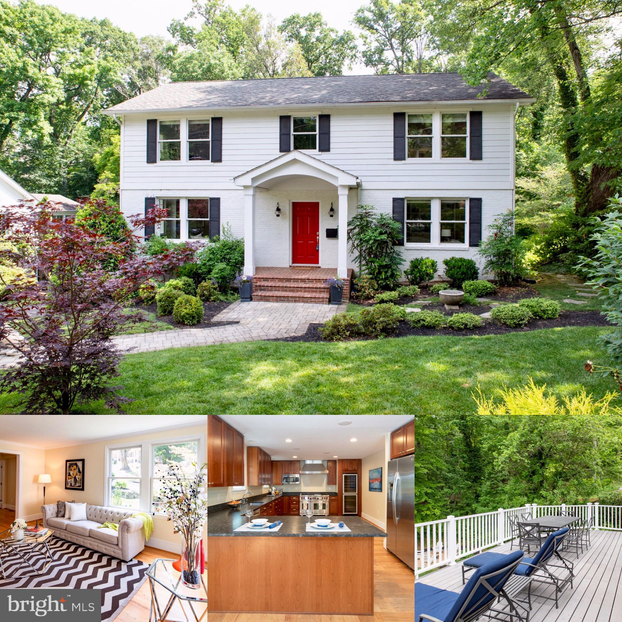 """Wonderful opportunity for this spacious colonial that backs to parkland in desirable Belle Haven.  Renovated and expanded in 2008, this home is move-in ready.  Rear loading two car garage.  Over 4,000 sf on three levels  Living room with built-ins. Main level study with built-ins. Large kitchen with island, Wolf 48"""" dual fuel range, double wine refrigerator and pantry storage. Separate dining room. Family Room with corner gas fireplace and large wrap-around deck overlooking private back yard oasis. 4 Bedrooms/3 baths up with generous room sizes. Master Bedroom with vaulted ceilings, double walk-in closets and deck. Walk-out lower level with large recreation room, full bath and storage. Dual zone HVAC. Built-in speakers. Wood flooring throughout main and bedroom level.  Rare & large flat backyard backing to protected parkland. Easy commuting to Old Town, Potomac River Trails, DCA, DC and Fort Belvoir."""