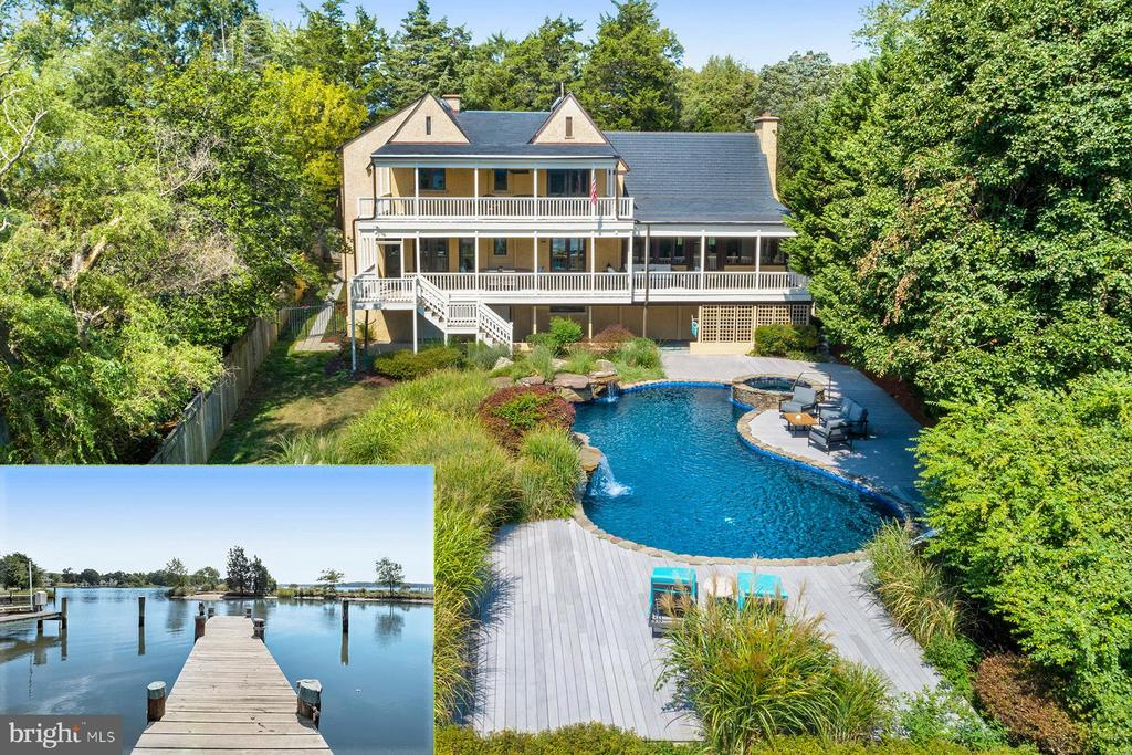 Live the luxe waterfront lifestyle in this stunning Wild Rose Shores home. Totally private, heated waterside pool with integral spa and waterfalls. Spectacular views down the South River, a private pier on a protected cove, and three levels of waterside porches. Dramatic living room with 30 ft ceiling and hand-carved moldings. Formal dining room overlooking the pool and river. The gourmet kitchen with granite countertops and stainless steel appliances surrounds a large center island with breakfast bar. The great room with gas fireplace opens to the waterside porch. The huge master bedroom has water views, a private deck and 2 walk-in closets. Spa-like master bath with marble counters, jetted tub, and oversized steam shower. Four additional bedrooms, each with a luxurious bathroom. Spacious game room with gas fireplace and two laundry centers. Fully fenced yard, in-ground sprinkler system, and oversized 2-car garage with epoxy floor complete the package. Located minutes from Route 50 and downtown Annapolis.