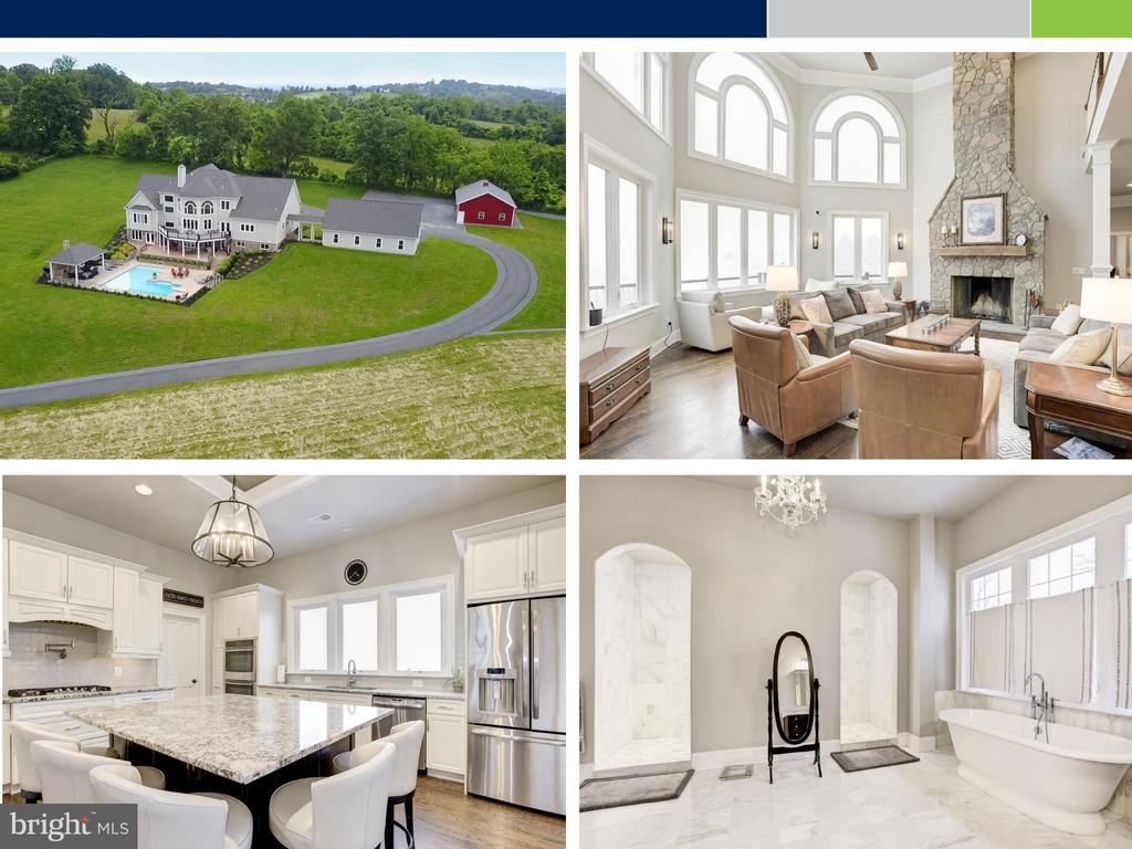 YOU HAVE TO SEE THE AMAZING VIEWS! Set upon 15 acres of unspoiled beauty overlooking the rolling foothills of Catoctin Mountain, this sprawling, sophisticated dream estate in unrivaled in its combination of luxury, opportunity, investment and convenience, but the views will take your breath away. Offering all the modern luxuries that fuse comfortable living with a savvy entertainer's dream, this thoughtfully-designed custom build with sweeping exterior views has nearly 10,000 square feet of seamlessly-flowing rooms. Family and friends will undoubtedly gather around the dashing stone fireplace in the great room and take in the sight of the serene valley through the two-story arched picture windows. An open layout leads to the bright, stunning gourmet kitchen fitted with every enjoyable amenity and walk-out access to the primed-for-leisure sundeck. Continuing throughout the resplendent main level, a formal dining room, inviting living room with a cozy fireplace, and stately office or billiards room all tell a tale of modern warmth and serious design. The truly luxurious master suite completes the calming nature of this floor, offering a comfortable and restful retreat space. Your overnight guests will be thrilled to choose from one of four additional bedrooms and four full baths on the upper level, where vivid exterior views carry on. In the lower level, the entertaining opportunities are unrivaled, with an additional guest suite option, two extensive recreation rooms, a workspace, a home gym, and access to all the alluring outdoor amenities on site. This home is truly a haven for those who celebrate the outdoors as living space. Simply step out and experience all the appeal of an open-air lifestyle. Go take a dip in the heated swimming pool. Cozy up near the gorgeous outdoor stone fireplace in the covered pool pavilion or nearby spa. You might develop the desire to fire up the grill on the covered patio with direct access to the lower level recreation room, or perhaps you'll spend the evening over by the firepit while enjoying a panoramic sunset. For those who need space for a trade or hobby, this house has options aplenty. The charming barn is a recently built, fully-enclosed space for a home business or storing equipment or additional cars. The four-car garage comes with built-in storage and an additional loft space that could be creatively finished as a tucked-away sanctuary. When venturing away from home base, there is easy and convenient access to local shopping, dining, and major roadways. This remarkable estate is just three miles from downtown historic Leesburg, Morvin Park Manor, and within minutes of many of Virginia's wonderful breweries and wineries. Whether you are bringing Board members over for a retreat, hosting holidays for multiple generations, or simply having neighbors over for dinner, Beechnut Acres encourages living - and loving - life to the fullest.