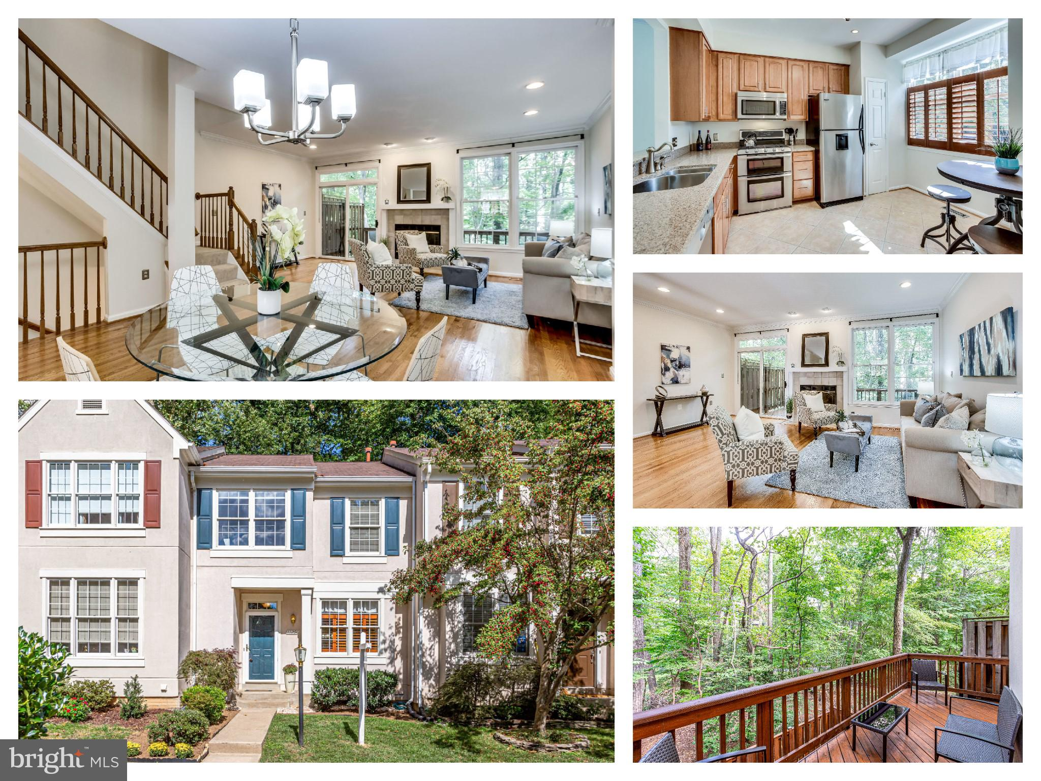 JUST LISTED!  **Open 2-4 PM Sun 9/22** Turn-Key 3 Lvl Townhome w/ Tree View!  Quiet, Wooded & Peaceful Neighborhood - around the corner from Lake Anne.  Open Kit w/ SS appliances, quartz counters and pantry.  Dining rm flows to large living space w/ gas fp. Enjoy coffee on the deck looking at trees and nature. Convenient 1/2 bath on main. 3 beds, 2 baths up. Master features walk-in closet and ensuite w/ dual pedestal sinks, soaking tub and separate shower.  Large walkout rec room in basement that leads to fully fenced patio.  Location has best of  both worlds:  seclusion w/ convenience. Enjoy the shops, restaurants and farmer's market at Lake Anne Plaza or RTC. Great commuter location plus Silver Line Metro nearby.