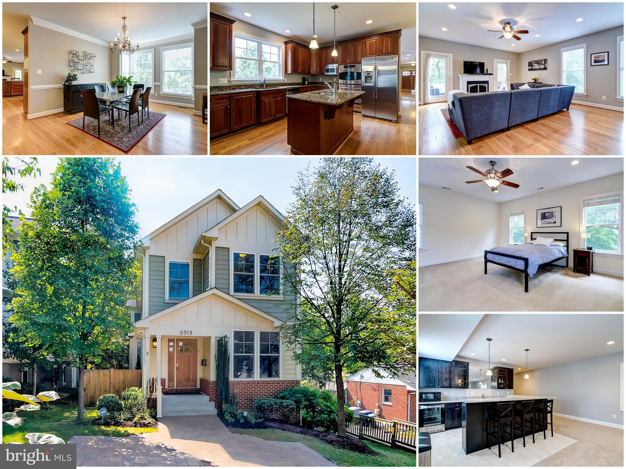 This large 5 bedroom Craftsman home with four full and two half baths boasts over 4,000 sq. ft. of living space. It is tucked away on a quiet street yet is just blocks from the West Falls Church Metro. Sitting on the peaceful, shaded deck you would never realize that you are a quick walk from major public transport and the parks, restaurants and shopping of the city of Falls Church. Open floor plan, beautiful hard wood floors and crown molding on main level, which includes living and dining rooms and stunning eat-in kitchen featuring custom KraftMaid cabinetry, granite countertops, stainless steel appliances, large island and a breakfast bar. Kitchen leads right into the spacious family room with a gas-burning fireplace. Separate light-filled office on main level. Upstairs you will find expansive master bedroom featuring a huge walk-in closet with organizers by Econize. There is a large master bathroom with separate shower and soaking tub. Second bedroom upstairs with en suite bath is perfect for guests, and the additional 2 large bedrooms share a jack and jill bathroom. Laundry conveniently located on the upper level. The lower level impresses with spacious rec room and beautifully appointed wet bar (plus wine fridge); great for entertaining. Additional large 5th bedroom with private bath downstairs -- perfect for au/pair or in-law suite. Big storage/utility room. Location = fantastic; easy walk to High Point Pool, W&OD bike trail and Falls Church amenities. Top rated McLean HS Pyramid. It is a wonderful home in a fantastic location!
