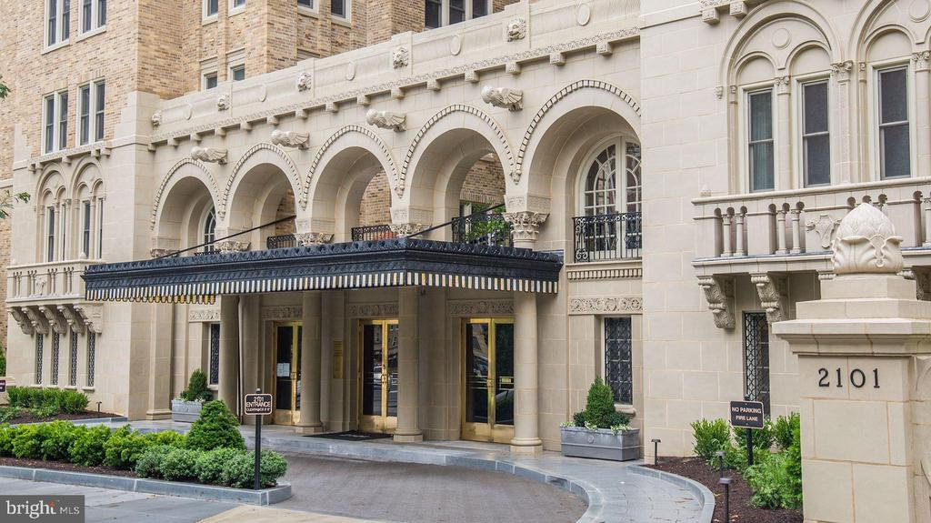 NEW LISTING! Welcome to 2101 Connecticut Avenue, Washington's renowned premier cooperative, designed by Joseph Abel and George Santmyers in 1927. Opened as a high-end rental by BF Saul in 1928, it was converted to owned co-operative apartments in 1976.  This pre-war Beaux Arts, 2BR/2.5BA Connecticut Avenue-facing, Park Avenue-style apartment has been exquisitely renovated, with the finest materials and touches. It has windows on three sides, enjoying abundantly sunny west, south and north exposures, and offers views of the National Cathedral.  The gracious foyer has a walk-in coat closet with hidden wine storage. The gallery opens to the large formal dining room and the grand piano-sized living room with a gas fireplace. The living room is flanked by a study (formerly a bedroom) and a sunroom/office. The gourmet kitchen has custom walnut., quiet close cabinets, Sub-Zero refrigerator, a Sodalite Blue marble island, Miele dishwasher, six-burner Wolf gas range, Wolf wall oven and Wolf built-in microwave. The adjoining butler's pantry includes an ice-maker, refrigerator, two Wolf warming drawers and a second Miele dishwasher. The kitchen opens to a large light-filled breakfast room (former maids room), which includes a desk area, Sub-Zero wine fridge and a laundry room that has a sink and Miele washer and dryer, plus a second entrance to the public hall. The private bedroom wing  features a gorgeous owner's suite that was created by combining two bedrooms. It has walls of closets, a walk-in shoe closet, a built-in room divider that features clothes storage on one side, and media cabinet/bookshelves on the other, plus an en suite bath with a double marble vanity and a seated, frameless shower. The second bedroom boasts a wall of built-ins and a  large walk-in-closet. The second full bath has both a separate shower and deep soaking tub. A powder room is tucked away off the gallery. The library/TV room boasts a hidden door in the bookcase for media storage. There are four roof terraces at 2101, including two covered gazebos, all enjoying sweeping views of the city. In season residents may use the two gas grills and the herb gardens. Nice fitness center on lobby level. 24-hr front desk and part-time doorman. Covered garage parking and storage space convey. Fee includes property taxes. Taxes listed in MLS are for the building as a whole, since it is a coop. Underlying mortgage portion of the fee ($821.73) goes away in August, 2022.