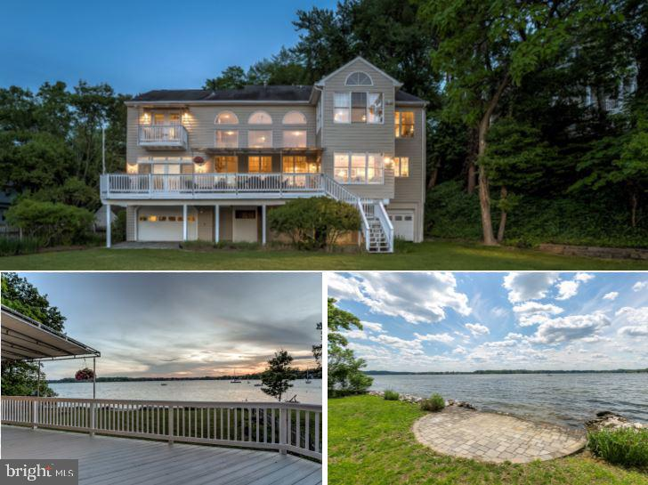 Gorgeous Severn River waterfront in the coveted community of Round Bay. This five bedroom, five and a half bath home is the perfect oasis for gracious waterfront living. With over 5,200 square feet of remarkable living spaces, the residence offers an open floor plan featuring a grand gourmet kitchen with over-sized granite island and counters, great room with wall of windows and double-sided fireplace. The lovely family room and waterfront sunroom, can be converted into an independent living space, perfect for a main level in-law or au-pair suite complete with full bath and potential for wet bar or kitchenette.  Second level highlights include the master suite with gorgeous waterview seating area, fireplace, and bath with soaking tub and glass enclosed shower. There are three additional bedrooms, one with private waterview balcony and ensuite bath, laundry room with storage and folding station. A third level features an additional expansive bedroom with ensuite bath.  The home is completed by an exquisitely landscaped backyard and expansive deck, perfect to enjoy life on the Severn River. A mooring may be installed in front of your home with easy access from the property. The Round Bay community has amazing amenities that include community beaches, activities, dances, picnics, parties, sailing, camps, swim team, boat launch and piers.