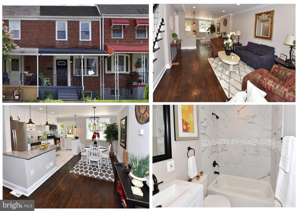 Beautiful Completely Renovated Town-home!! 3 beds 2 bath, basement could be 4th Bedroom. Enjoy the simple luxuries of refinished hardwood floors, recessed lighting throughout the home, large deck for entertaining, 2 Car parking pad in rear, ceramic tile bathrooms, crown molding, architectural roofing, new windows with warranty, new HVAC w/warranty, new carpet, washer and dryer kook up, completely upgraded electrical with new service cable, all new plumbing, SS appliances, breakfast bar, soft close cabinets, This home is gorgeous and has been properly permitted. Enjoy your new home! 1 year home warranty offered.