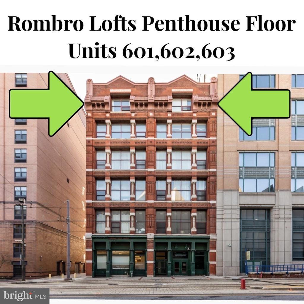 Unique opportunity to own the ENTIRE PENTHOUSE level of the Rombro Lofts Building! This condo package is made up of 3 separate units, 601,602,603. Live in one and rent the other two for POSITIVE cashflow or convert into a configuration of your liking. Two of units are currently rented to excellent tenants. Unit 601 (rented- month to month) is a 2 bed 2 bath unit with souring ceilings, large windows, hardwood flooring, W/D and tons of storage.  Unit 602 (rented -April 2020) is a unique loft ~ with 1 bed, 1 bath, W/D, spacious kitchen, large windows with tons of natural light, hardwood flooring and tons of storage. Unit 603 (vacant and staged) has a breathtaking view of the Bromo Seltzer Tower and has windows all around. This is a 2 bedroom (or 1 bed with Den) with 1 full bathroom, upgraded closets, W/D, storage, hardwood flooring and tons of natural light. Note: the condo fees listed are for all 3 units. Parking can be rented from one of 2 garages next door/across the street. This is a secure building in a great downtown location. Agent and tenants need at least 24 hour notice. Unit 602 not to be shown unless buyer is SERIOUS. Call agent to schedule a showing and to get more information. Buyer to verify condo fees