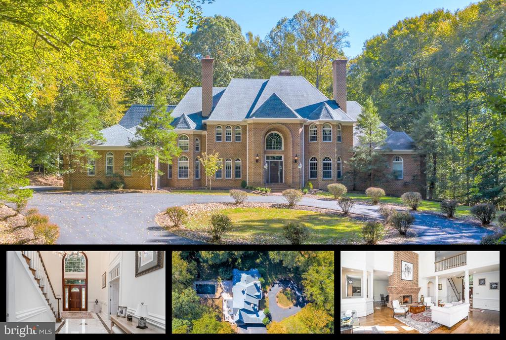 Opportunities like this rarely appear for such a great value! In the heart of Great Falls, tucked away on a private drive that backs up to the beautiful Potomac, sits this absolutely exquisite 5-acre estate. Luxurious details fill the home from top to bottom, starting with a grand foyer that welcomes you with soaring ceilings, marble flooring and custom molding. An impressive 11,000+ square ft. includes 5 bedrooms, 7.5 baths, and a floorplan that is an entertainers dream. Perfectly accommodate guests for formal dinners in the magnificent dining room with double-sided brick fireplace that flows into a sitting area. Natural light spills in through the endless windows while the fireplace provides the perfect warmth for the colder weather. The gourmet kitchen features custom cabinetry, double ovens, beautiful countertops and center island with seating. The seamless flow continues into the breakfast area and sitting room, making the perfect place for a morning cup of tea while enjoying the beautiful outdoor views that stream in through the walls of windows. Perhaps the center 'hub' of the main level is the impressive living room, that shares a full-height double-sided brick fireplace with the family room. All rooms seamlessly flow into this magnificent area for entertaining, complete with outdoors views of the pool and grounds, as well as separate wet bar, soaring ceilings and custom molding. Separate office, laundry room and library with brick fireplace and custom cherry built-ins. The main level also includes an entire wing dedicated to the luxurious master suite, complete with his/her walk-in closets, sitting area, and en-suite bathroom with dual vanities, soaking tub and dual stall showers. 4 additional en-suite bedrooms remain upstairs. The fully finished walk-out lower level is just waiting for you to make it your own; boasting a second full kitchen, exercise room, full bathroom and FOUR bonus rooms, this home can perfectly accommodate in-laws, guests, teens... perfect for any lifestyle! Enjoy easy access to the pool while keeping the guests from roaming the entire house with quick access to the full bathroom; you can enjoy the convenience of having a 'pool house' without the additional maintenance of another building! Another double sided-fireplace in the lower level completes this masterful floor, whether you are looking for additional rec. areas, or a private guest suite for hosting company, the lower level is sure to accommodate whatever your needs are. Not to be missed, the expansive grounds include an in-ground pool and spa, surrounded by a beautiful patio and brick wall. The rolling grounds promise for endless fun for the younger ones to enjoy the beauty of mother nature while you can relax by the pool/patio and have them in full visibility. A 3-car garage includes additional storage options. This is the one, look no further... welcome home to Yarnick Road!