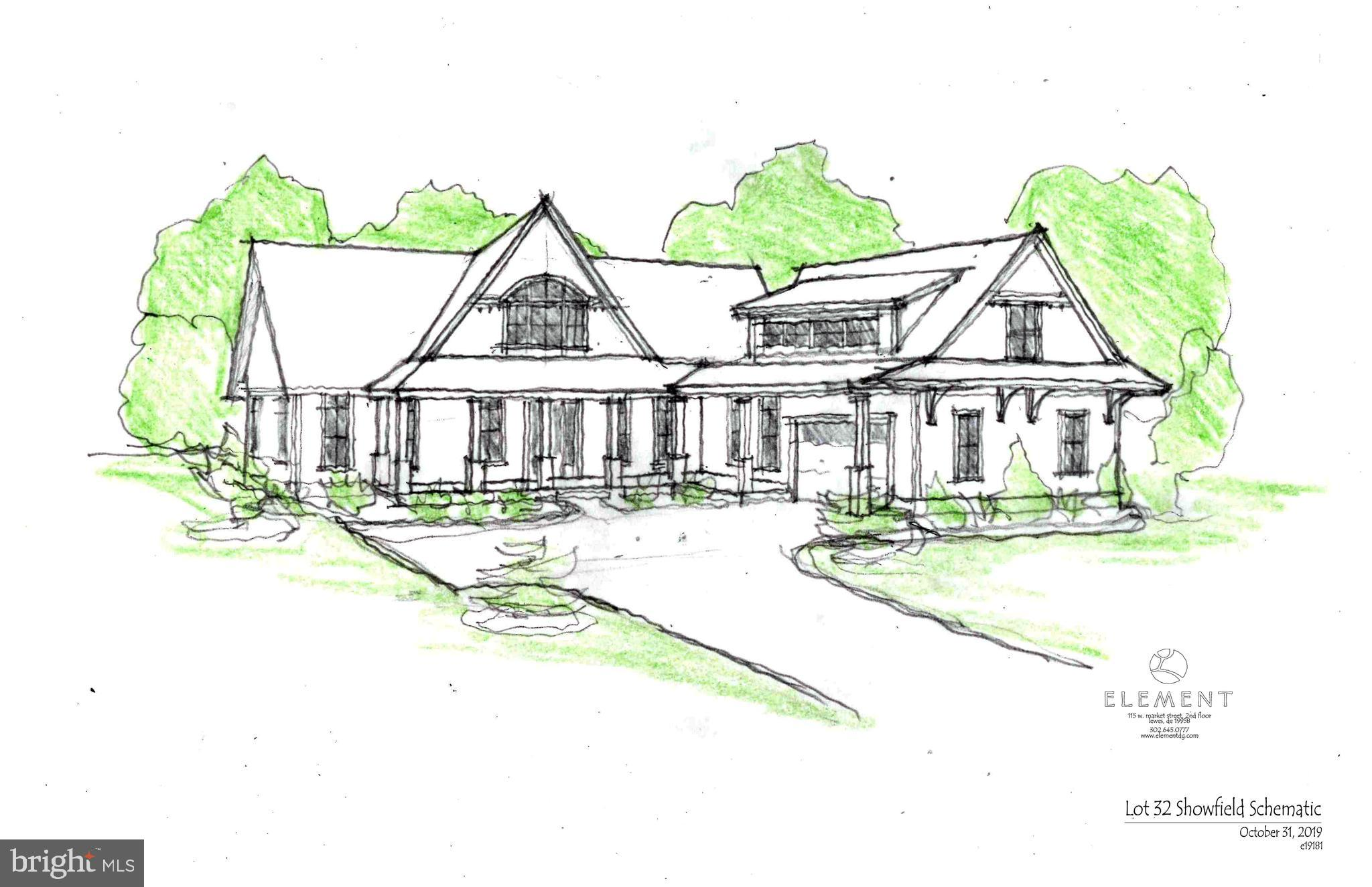 This lot-home package on a premium White's Pond lot is now available in Showfield! This custom home has been designed specifically for Lot 32 by Element Design Group. The first floor features a master suite, study, mud/laundry room, and open floor plan. The second floor offers three additional bedrooms, each with its own full bathroom. Other features include a large deck, front porch, screened porch, and two-car garage. This home is located in the iconic 132-acre community of Showfield, which is situated along a portion of the 16-mile Junction & Breakwater Trail loop. Amenities include a community clubhouse, community pool, wooded walking trails, and four additional ponds. Showfield is located within a half mile of Lewes Beach, Cape Henlopen State Park, and downtown restaurants and shopping opportunities. Showfield is the most exciting opportunity at the Delaware Beaches and has become a premier neighborhood in Lewes.