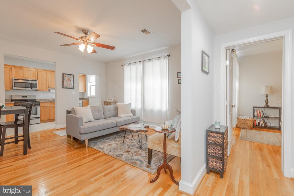 Beautiful 1br 1bath top floor condo in Brookland with private storage unit! Sun-filled rooms with great natural light. Updated semi-open kitchen with a one-year-old refrigerator & dishwasher, refinished hardwood floors throughout, new full-size W/D in unit. Great sized bedroom with a huge walk-in closet. Well maintained, pet-friendly building with an environmentalist's heart - solar panels on the roof and community rain barrel to water plants. Other building amenities include bike storage, community tools and woodworking project space (a rare find in the city!), a community grill/picnic area in the front yard, and private back patio with patio furniture. Fenced in yard perfect for kids and dogs! Additional washer and dryer in the building (can do two loads at once since there is also one in the unit!). Only one block from the Tastemakers food hall and 0.5 miles to Brookland & Rhode Island Ave metro & amenities. Easy street parking. 7-minute drive to brand new Target in Ivy City!