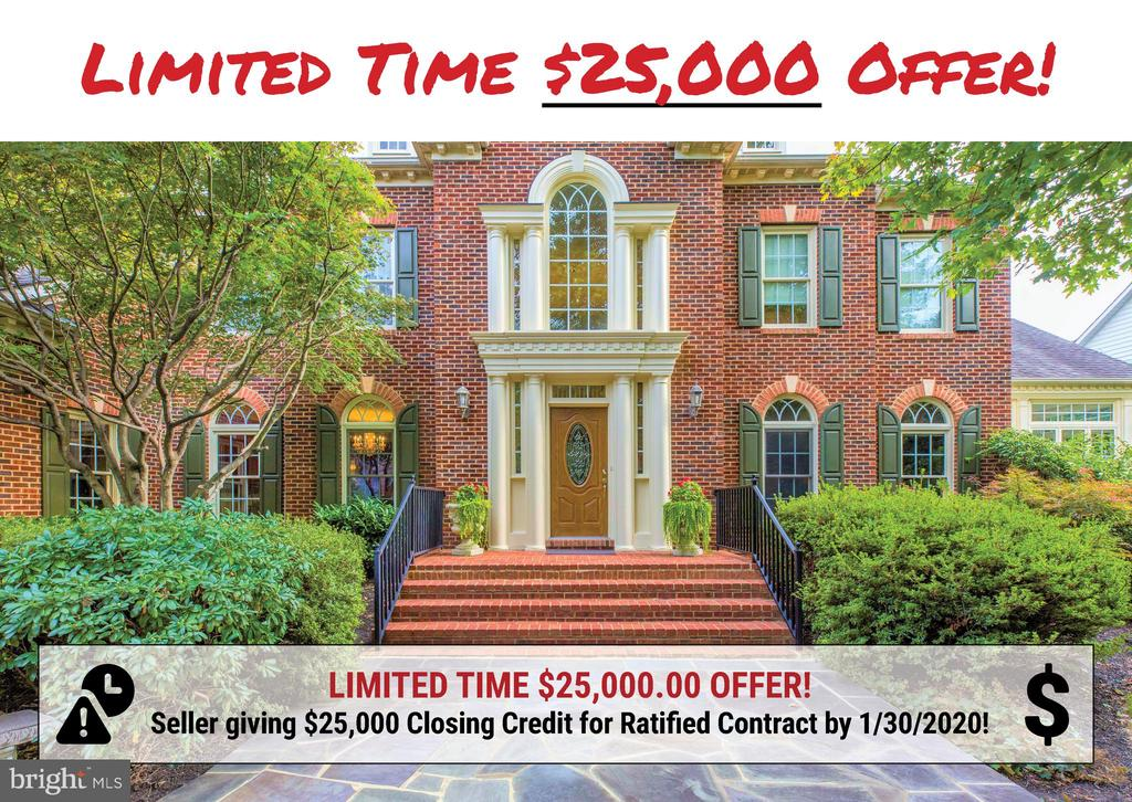 ***Limited Time $25k Offer! Seller is offering $25,000 Closing Cost Credit for a Ratified Contract by 1/30/2020!***  Tucked in the privacy of Cedar Chase on a quiet cul-de-sac, this spectacular 'Monticello' Colonial boasts superior craftsmanship and intricate details both inside and out. A magnificent two-story foyer with dual staircases sets an impressive tone, with seamless flow into 7,900+ square ft. of beauty. Quality features include gleaming hardwoods, custom molding, 2 separate sunrooms, 5 bedrooms, 5 full and 1 half bathrooms. Feel like a chef while preparing meals in the gourmet kitchen, boasting granite counters, stainless steel appliances, center island with seating and separate bar area. Walls of windows let the sun stream into the breakfast area, making for the perfect spot to enjoy a morning cup of coffee. Continue into the grand 2-story family room with gas fireplace, custom built-ins, and a stately centerpiece window. Formal living room, dining room, second sunroom, library/office. Master suite retreat offers your own separate wing of the house to unwind, with tray ceiling, sitting room, his-and-her walk-in closets, and a spa-like master bath. 3 additional en-suite bedrooms, each with walk-in closets and full bath, remain upstairs. The finished walk-out lower level offers a bonus room with gas fireplace, separate game room, 5th bedroom and a full bath. Endless options for accommodating any lifestyle! Perhaps the most magnificent part of this property is the outdoor oasis that awaits. Soak in the serene sound of the custom-built waterfall as you relax on the expansive paver patio that spans the entire length of the house! Ample plantings and greenery surround you with nature's privacy, while being just minutes from every amenity imaginable... schools, Reston Town Center, Metro station, Rt. 7, 267, Dulles airport, and SO much more. Look no further, this is the one!
