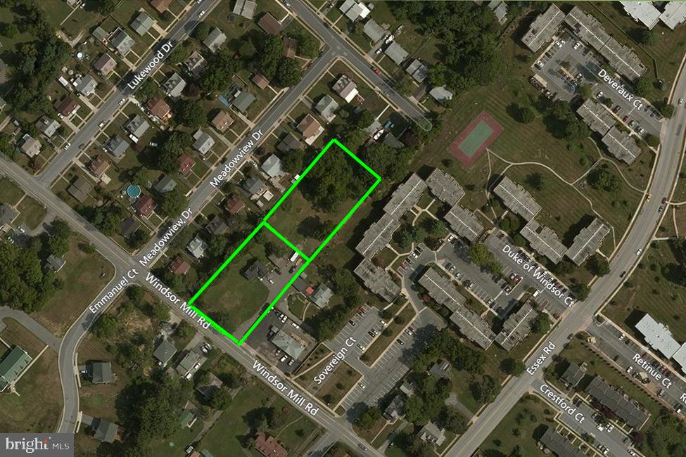 This ~1.43-acre redevelopment opportunity is two separate parcels being sold as an assemblage.  The property is an excellent redevelopment site, zoned DR 5.5 for medium-density residential (townhouses).  There are slivers of BL and DR 16, but the majority of the property is DR 5.5.  This assemblage is being sold as a redevelopment opportunity; thus the value is in the land.  Please note there is an existing ~1528 SF home with a large detached garage on one parcel.  It is expected that the house, though habitable, would be razed, so full density can be obtained on the site.  Both parcels have public water and sewer.  Located on bus line, and minutes from multiple business parks.  Good road network providing easy access throughout the Baltimore Metro area.Premises addresses are 6716 Windsor Mill Rd, Windsor Mill (Baltimore), and 6716 Meadowview Dr, Gwynn Oak.
