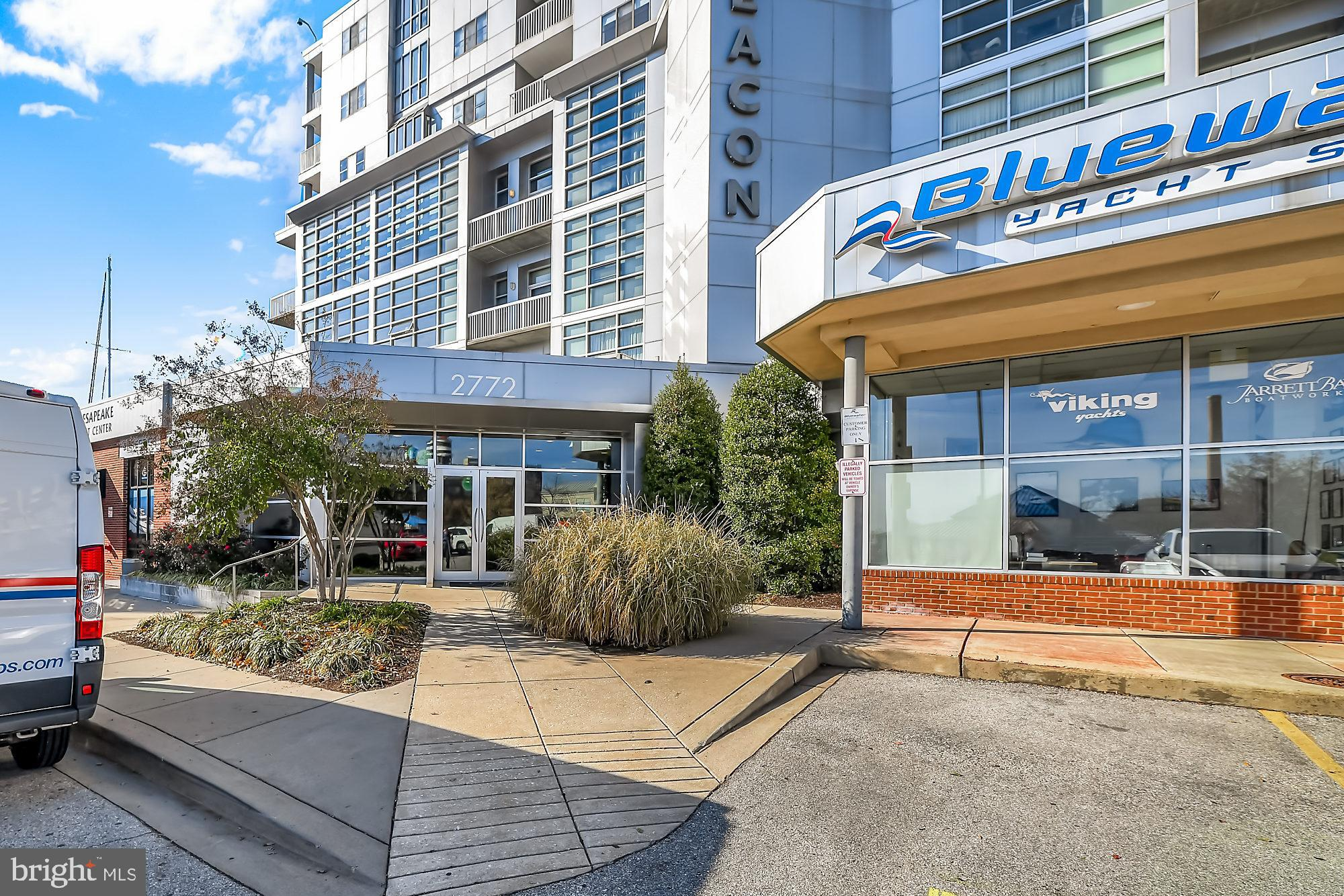 This 2BR/2BA condo is located in one of the most sought after WATERFRONT buildings in the area with breathtaking views from the living room and bedrooms! The unit comes with 2 secure garage parking spaces (on the same level as the unit). Gorgeous wide open floor plan with slate floors, over $10K in window treatments convey, floor to ceiling windows, upgraded chef's kitchen, stone countertops, stainless appliances, plenty of cabinet and storage space. 24 hour security, doorman, walk to restaurants, nightlife, shopping. Convenient to downtown, I83, and I95. Discount access to pool across the parking lot and $25 one time fee to join new fitness center.