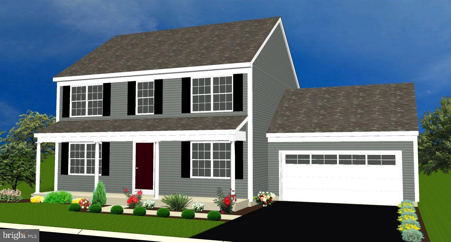Full front porch provides a welcoming invitation.  Front door opens to an open floor plan.  Spacious combined dining room and living room.  Kitchen boasts an island with an overhang to enjoy those casual meals.  Storage is easy in the ample pantry.  Quiet moments can be savored in the private  first floor study.  This  two story three bedroom home has a convenient laundry, Master Bedroom Suite with private bath, walk in closet, plus two additional bedrooms and bath on the second floor.    Coming in from the two car garage the mudroom features a built in bench and pegs to keep the family organized.  Enjoy relaxing  on the rear deck.
