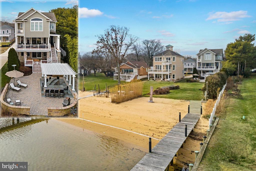 707 Cottage Drive is a gorgeous waterfront home with sweeping Magothy River views, a private sandy beach, and a deep-water pier with two boat lifts.  Multiple outdoor dining, relaxing, and entertaining options including two Trex decks overlooking the water, a beautiful paver patio with built-in breakfast bar, and a private master suite balcony. This stunning home is perfectly situated at the end of Cottage Drive and is in a Blue Ribbon School District! As you step into the grand two-story foyer your gaze is immediately drawn to the high ceilings and lovely chandelier. The main level features elegant pecan wood floors, nine-foot ceilings, and an open floor plan.  There's an elevator that has access to all three levels of the home. To the right is the huge great room that overlooks the Magothy River.  This space has a cozy family room with gas fireplace, an informal dining area, and a gourmet chef's kitchen; all with fantastic water views and easy access to one of the waterside decks.  The huge center island, with breakfast bar and prep space, is the perfect place for family and friends to gather.  Even the pickiest of chef's will enjoy the amenities in this kitchen that has two Bosch dishwashers, Wolf double oven, Wolf warming drawer, five-burner stove, and a Sub-Zero wood-paneled side-by-side refrigerator.  To the left of the foyer is a formal dining space, living room with built-in bookshelves, double-sided gas fireplace and a cozy window seat with storage. There is a main floor bedroom with a private bathroom.  Also on this level is a mudroom and a powder room. Upstairs, the spacious master suite has all the bells and whistles!  There is a huge walk-in closet with custom organization and a luxurious master bathroom with jetted soaking tub, granite countertops and an oversized tile shower. The wall of glass in this bedroom offers magnificent water views and provides access to tons of natural light that floods the space. There is even a private balcony.  Down the hall are three more bedrooms, one with a private bath, and a hall bath.  The walk-out,  lower level offers great additional living space with a gas fireplace. Step out to one of the waterside decks, the spacious patio, and outdoor dining areas.  There's a full bathroom on this level as well as access to the oversized three car garage. The location is perfect with a beach and deep-water private pier on the Magothy River. There are two boat lifts with GEM remotes, one 20,000 lbs and one 12,000 lbs, and the deep water means sailboats as well as power boats!  By land you are minutes to major commute routes, shopping, dining, and Downtown Annapolis.  Enjoy all that this home has to offer; your friends and family won't want to leave this get-away destination.